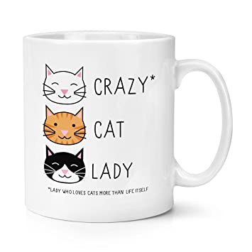 Gato loco de siluetas de 11 oz taza - de gatito diseño de carcasa diseño de taza con forma de té y café de cerámica: Amazon.es: Hogar