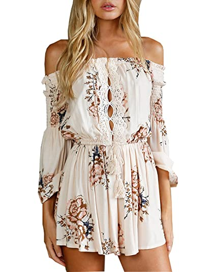 cc8d6897f67 Chicone Womens Off Shoulder Short Jumpsuit Flower Print 3 4 Sleeve Romper  Beige White Small