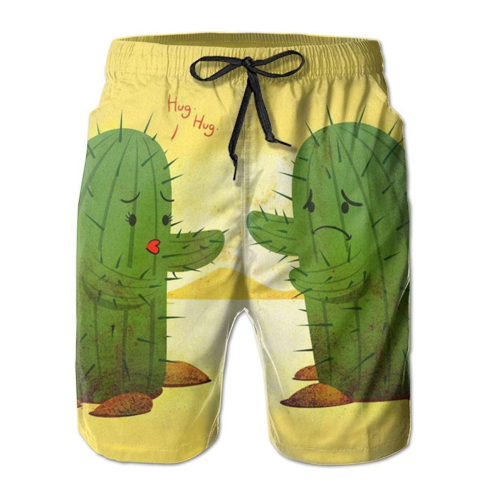 Kurabam Beach Yoga Pants, Cute Funny Cactus Love Sexy Hot Miami Cute Barbie Casual Shorts for Men Boys, Outdoor Short Pants Beach Accessories