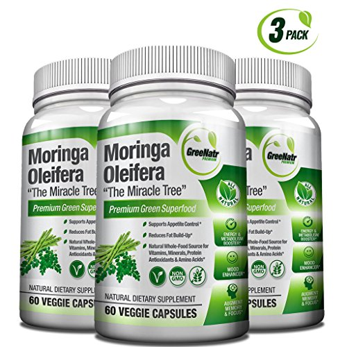 Pure Moringa Oleifera Leaf Extract Capsules * 100% Natural Premium Green Superfood * Natural Weight Loss Supplement + Energy & Metabolism Booster + Mood, Memory & Focus Enhancer (Benefits Of Moringa Leaves In Weight Loss)