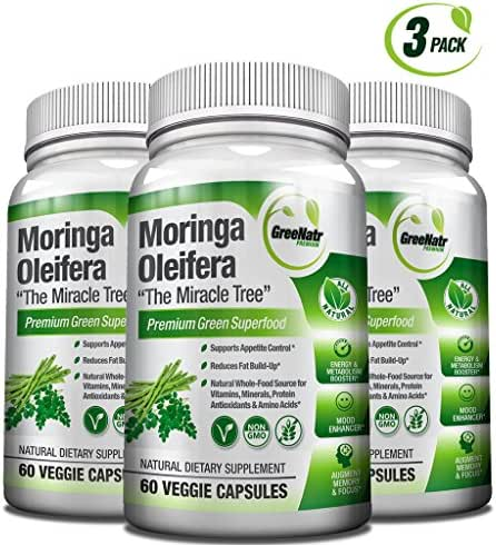 Pure Moringa Oleifera Leaf Extract Capsules * 100% Natural Premium Green Superfood * Natural Weight Loss Supplement + Energy & Metabolism Booster + Mood, Memory & Focus Enhancer