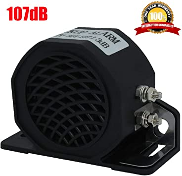 12V-80V 105db Car Truck Heavy-Duty Backup Warning Alarm with Super Loud Beeper Tone for Van Freight Car Lorry Heavy Vehicles Universal Fit