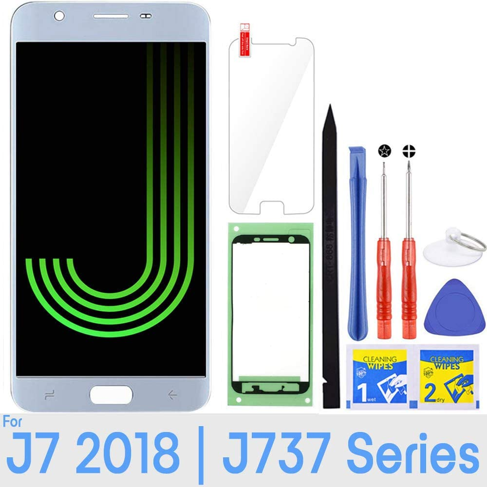 J7 Screen Replacement LCD Display Touch Digitizer Assembly for Samsung Galaxy J7 2018 SM-J737 J737A / J7 Refine 2018 J737P / J7 Crown S767VL /J7 Aero/ J7 V 2018 J737V J7 Star 2018 J737T (Blue)