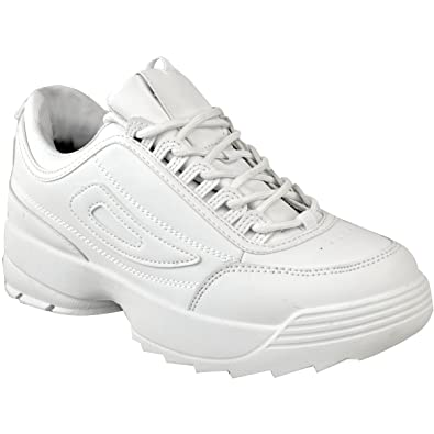 49fd9c8258163 Fashion Thirsty Womens Chunky Sole Sneakers Retro Shoes Gym Sport 90s Shoes  Size