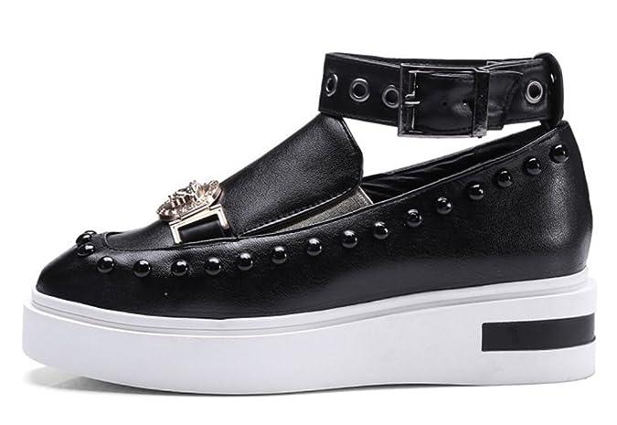 Easemax Damen Fashionable Durchgängiges Plateau Quadrate Zehen Nieten Schnalle Metall Sneakers Schwarz 37 EU nyXJxvd