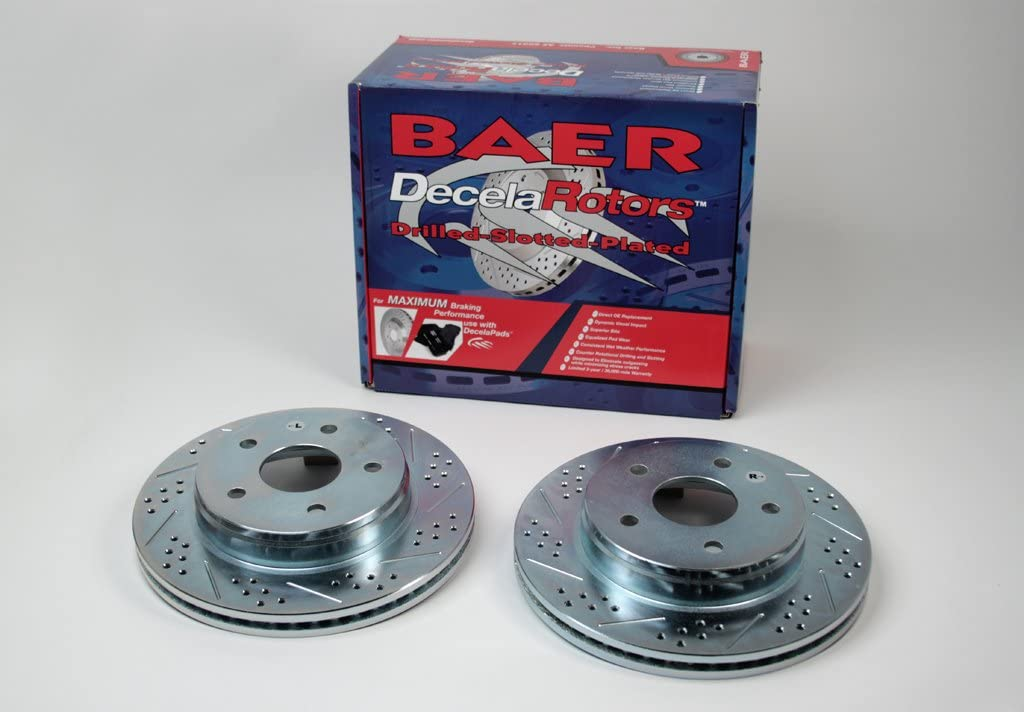 Pair Baeer Brakes BAER 05382-020 Sport Rotors Slotted Drilled Zinc Plated Front Brake Rotor Set