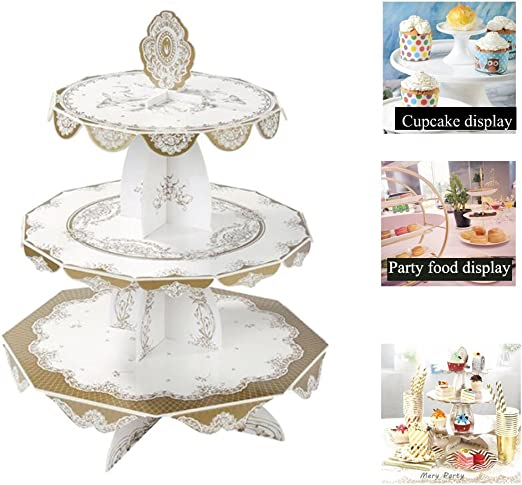 Round Cake Dessert Display Stands Plastic Plates Cupcake Tower Party Decoration