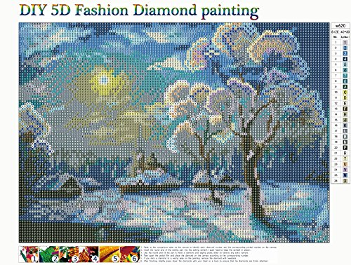DIY 5D Diamond Painting Kits for Adults Full Drill Starry Night Diamond Art Rhinestone Embroidery Pictures Cross Stitch Arts Crafts for Home Wall Decor Living Room Gifts 12X16in