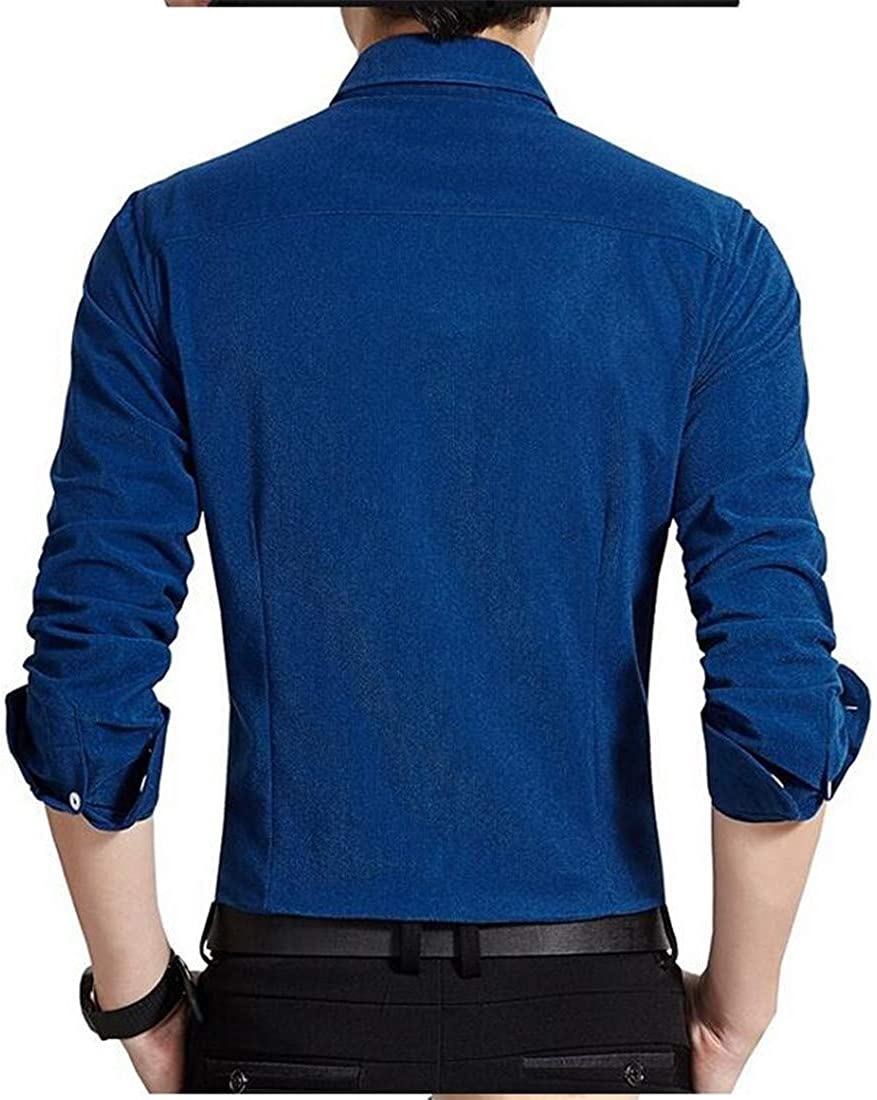 CMCYY Mens Slim Fit Button-Down Long Sleeve Warm Solid Corduroy Shirts