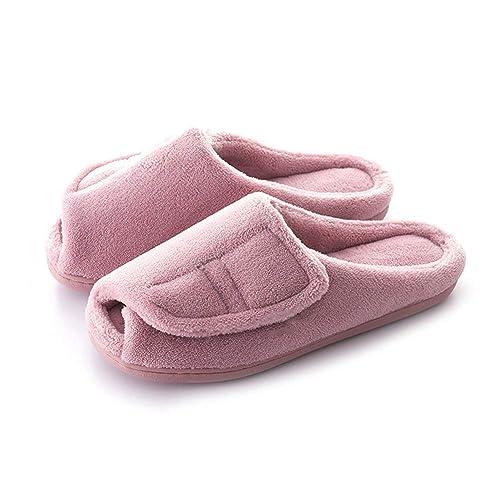 c23742e0a2 Women's Comfort Memory Foam Fuzzy Slippers Open-Toe Adjustable Hook & Loop  Closure for Bunions