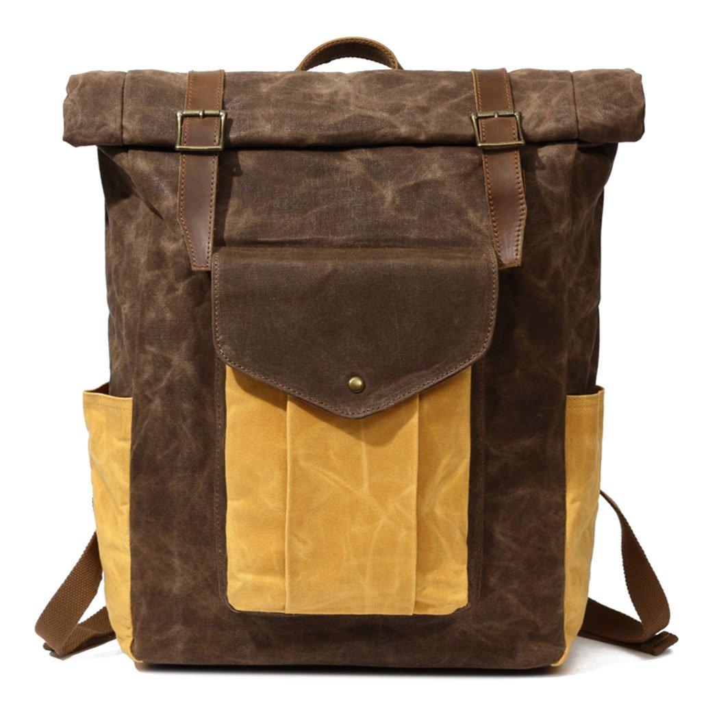 Partrisee Vintage Waxed Canvas Leather Backpack Large 17'' laptop Purse Rucksack School Gift Bag for men women-Coffee