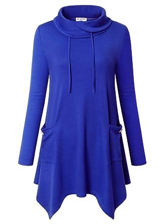 61a8a5052 Bulotus Women's Long Sleeve Drawstring Cowl Neck Asymmetrical Hem Tunic Top  with Pockets,Blue,