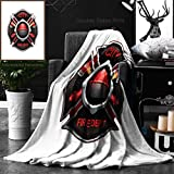 Unique Custom Double Sides Print Flannel Blankets City Fire Department Organization Realistic Logo Emblem Design With Crossed Axes And P Super Soft Blanketry for Bed Couch, Twin Size 60 x 70 Inches