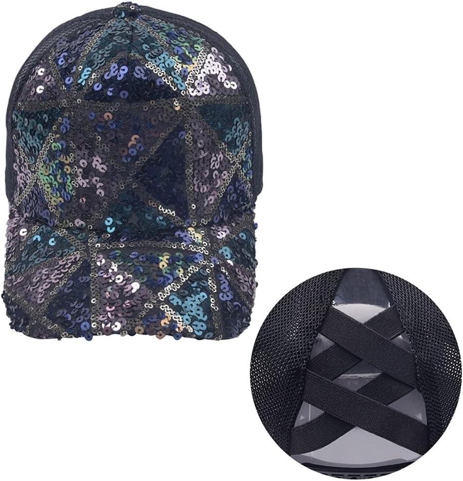XuHang - Gorra de béisbol con lentejuelas reflectantes con purpurina para mujer, con parte trasera de malla, para senderismo, al aire libre