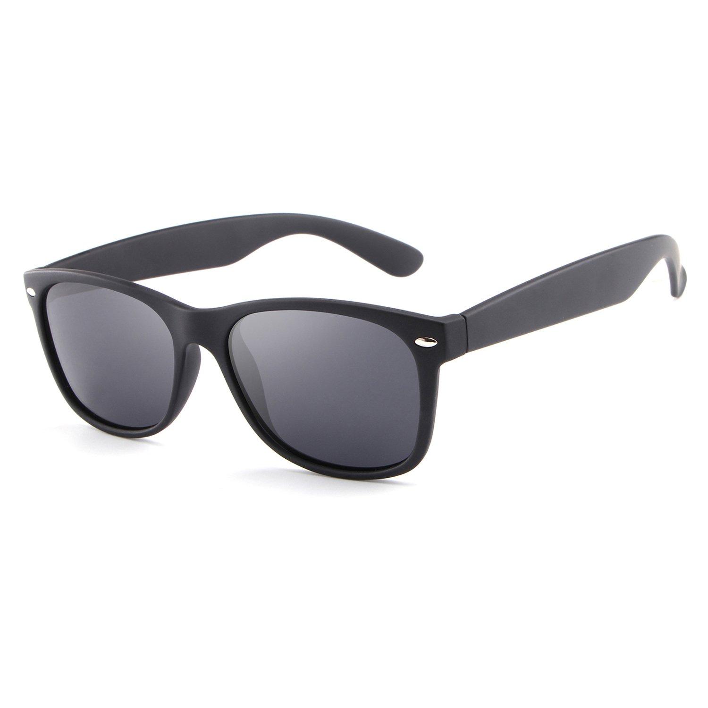HDCRAFTER Classic Unisex Polarized Mirror Lens Wayfarer Sunglasses 55MM
