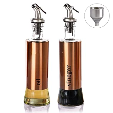 Cosyres Oil and Vinegar Dispenser Cruets Set with Drip-Free Spouts, Funnel - Oil and Vinegar Bottle for Kitchen (Rose Gold)