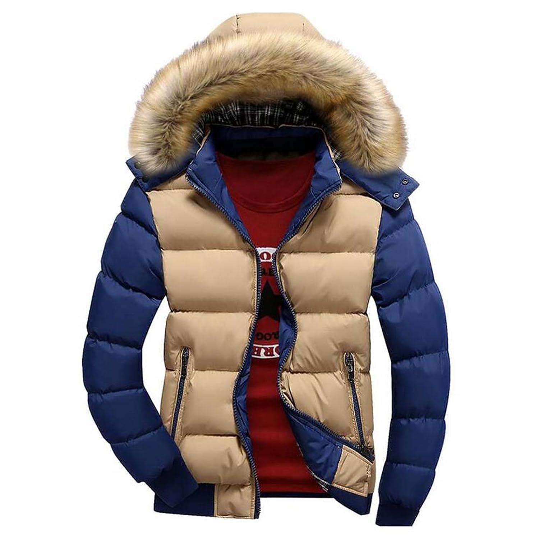 hibote Winter Men Parkas Thick Warm Coats Jackets Slim Tops Patchwork Hooded Parkas Khaki/Blue 3XL