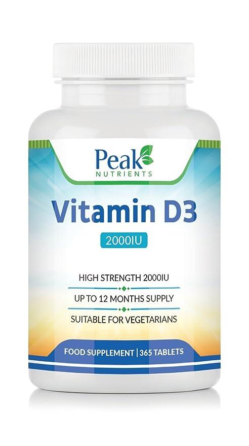 Vitamina D3 de Alta Concentración (2000 UI), 365 Comprimidos (Suministro para 1
