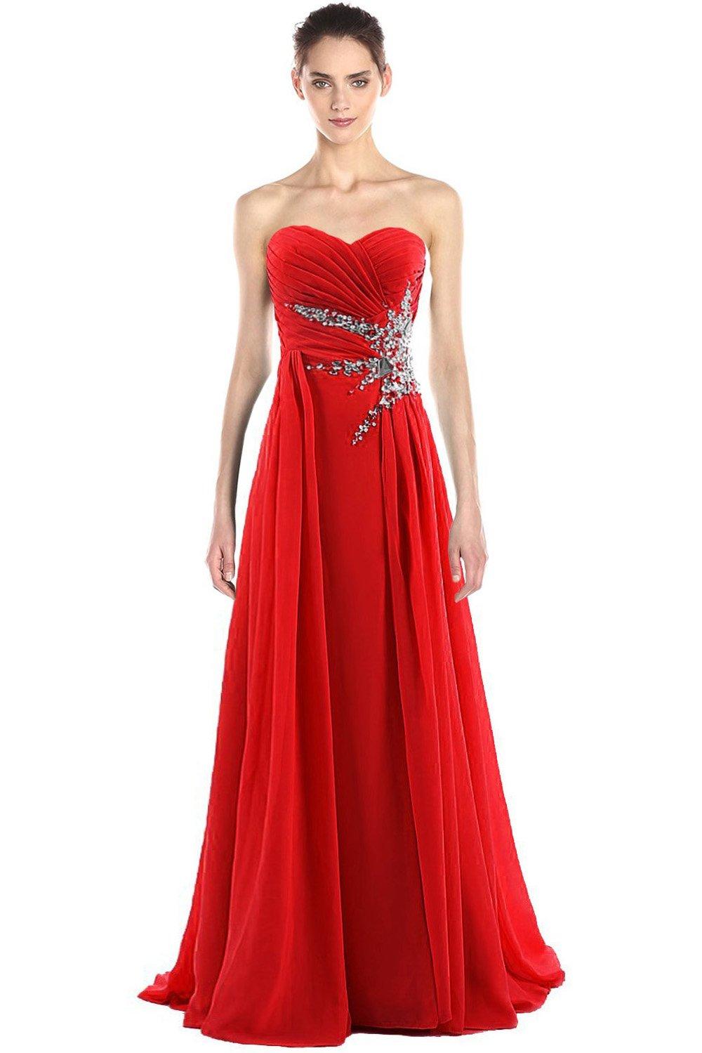 medon's Women's Sweetheart Beading Chiffon Long Prom Dress