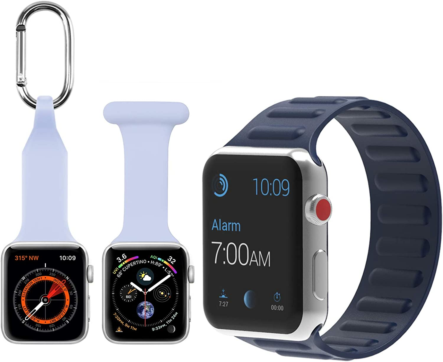 Apple Watch Band, Solo Loop iWatch Band, Nurse Apple Watch Band, Carabiner Clip for Apple Watch, Silicone watch Band for Apple Watch Series SE 6 5 4 3 2 1 44mm 42mm 40mm 38mm 3 Pack for Women Men