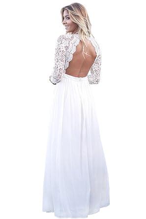 d22bdb372c8 White Open Back Long Sleeve Crochet Maxi Party Dress Size 10-12   Amazon.co.uk  Clothing
