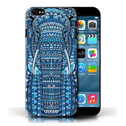 Etui / Coque pour Apple iPhone 6/6S / éléphant-Bleu conception / Collection de Motif Animaux Aztec