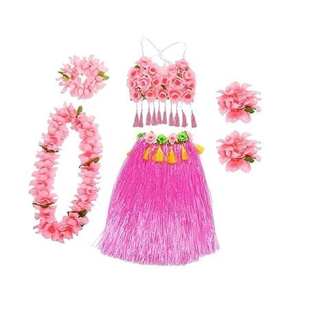 b702f7ad05dd2 6pcs Tropical Hula Grass Skirt Set Flower Leis Necklace Headband Bracelets Hawaii  Costume Fancy Dress for