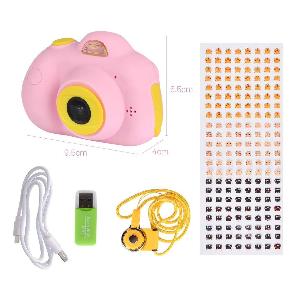 Kids Cameras Dual Selfie Digital Camera HD Video Recorder Action Camera Camcorder for 4-9 Year Old Kids Birthday Festival Gifts Toys for Children Boys Girls 2.0'' LCD Screen 4X Digital Zoom (Pink) by Tyhbelle (Image #7)