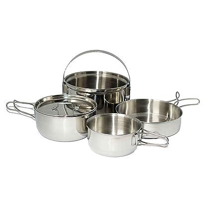 AceCamp pequeño Juego de cocina camping Cocina Olla de acero ...