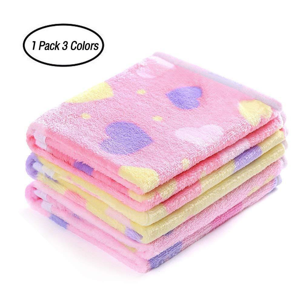 luciphia 1 Pack 3 Blankets Super Soft Fluffy Premium Fleece Pet Blanket Flannel Throw for Dog Puppy Love Small