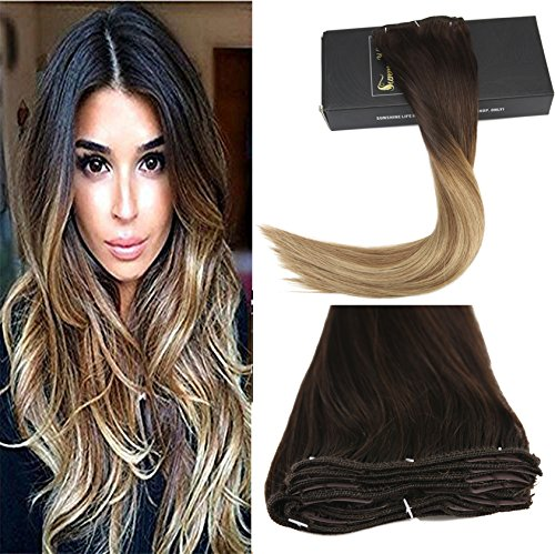 Sunny 18inch 9pcs/140g Real Human Hair Clip in Extensions Dark Brown to Medium Brown Highlights Honey Blonde Balayage Remy Clip in Extensions