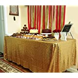 """TRLYC 60""""*102"""" GOLD Sequin Tablecloth for Wedding/ Party/ Banquet"""