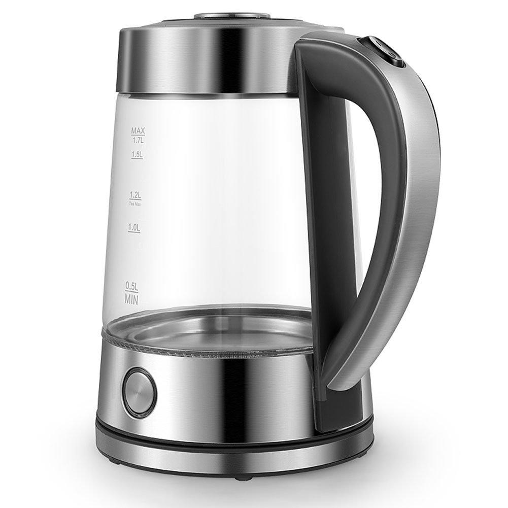CAIXIA Wassertopf &Wasserkocher Glas Wasserkocher Edelstahl Basis 1.7L 1850W Grau Schnelles Kochen
