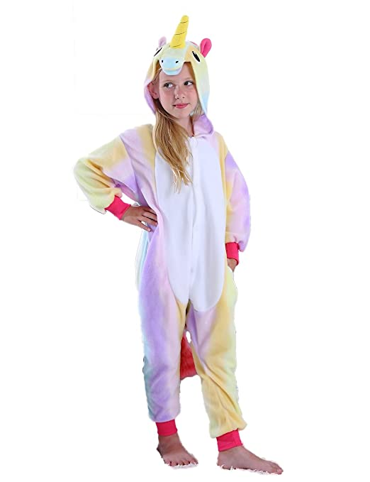 Ifboxs Kids Unicorn Onesie Pajamas Cosplay Halloween Costume for Girls and Boys (Rainbow, 8)
