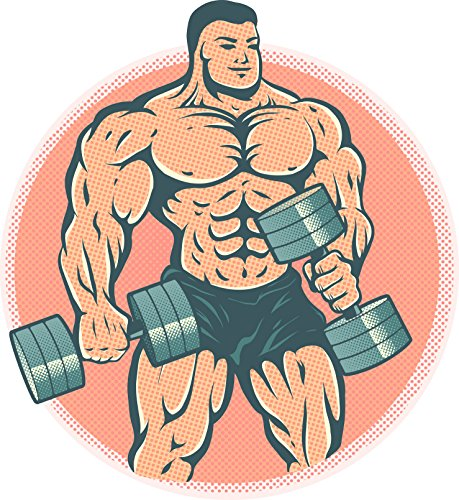 Vintage Retro Style Happy Muscular Bodybuilder Lifting Weights Cartoon Vinyl Sticker (4