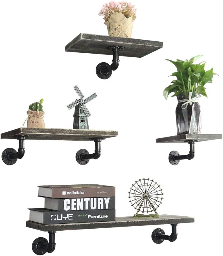 MANTE BLONG Industrial Pipe Floating Shelves Wall Mounted, Rustic Wood Wall Shelves Set of 4 for Bedroom, Living Room, Bathroom, Kitchen, Office and More