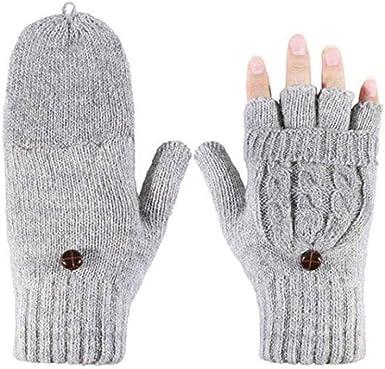 Mitaines dhiver pour femme en laine tricot/ée chaude convertible avec housse de moufles