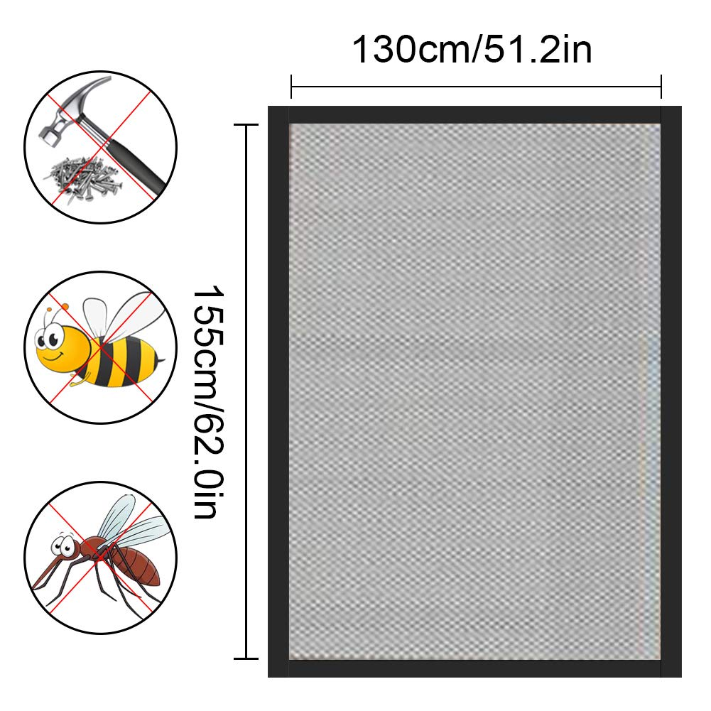 4 Unidades Protectora de Insectos para Ventana,1.3 * 1.5m 10mm)Negro Anti Mosquito Malla Protector Kit 4 Rollos De Cintas Autoadhesivas Malla Mosquitera para Ventanas