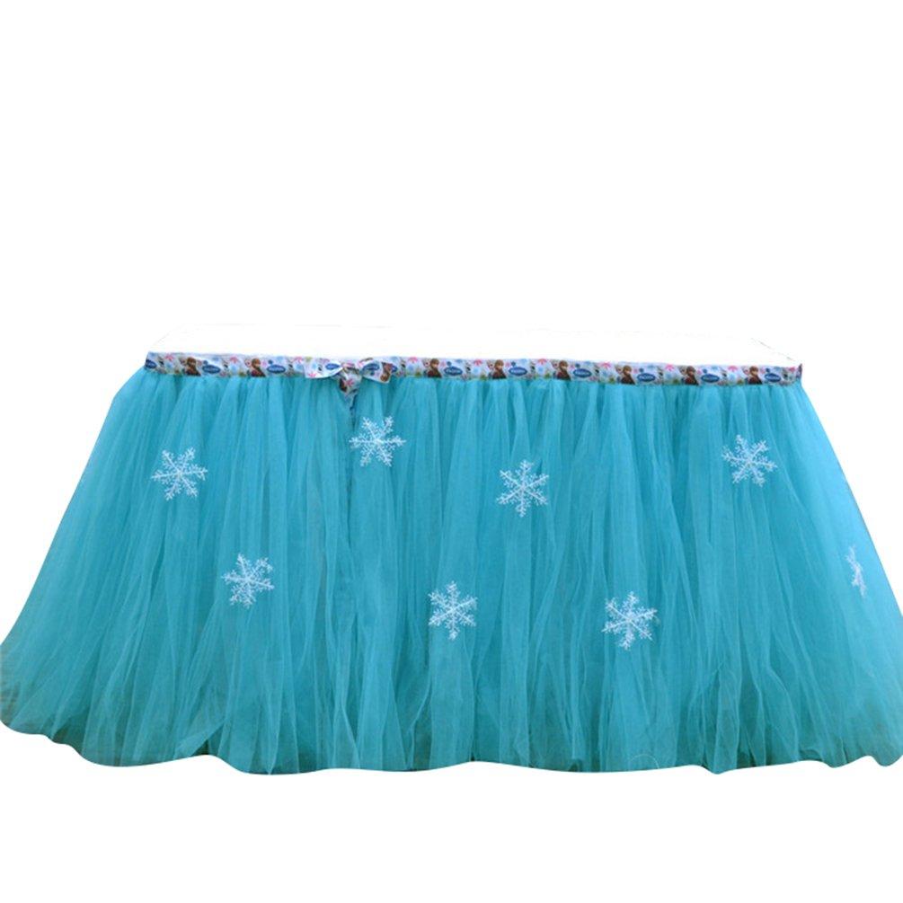Ketamyy Navidad Copo De Nieve Fluffy Romance Tutu Falda De Mesa Decoración De Fiesta Para Niñas Azul 91.5cm*80cm