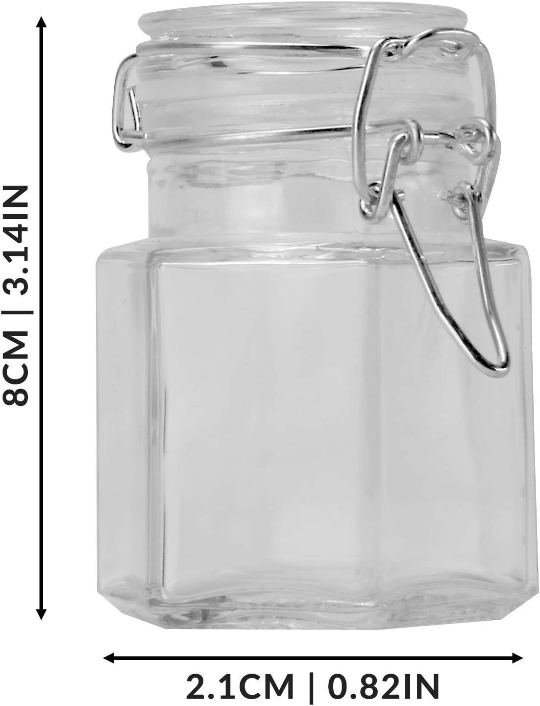 Vasetti di stoccaggio ermetici Set di 12 vasetti esagonali M /& W Conserva vasetti Vasetti di marmellata Piccoli vasi Vasetti con clip Mini vasetti di vetro Conservazione delle erbe