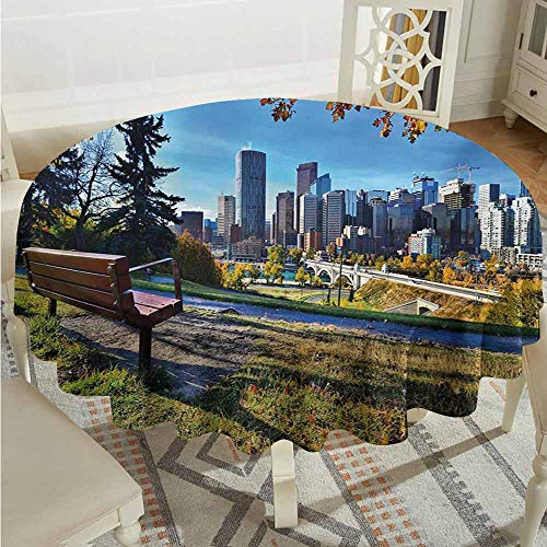 Suchashome Reusable Round Tablecloth City Park Bench Overlooking The Skyline of Calgary Alberta During Autumn Tranquil Urban Multicolor Circular Table Cover Diameter 36