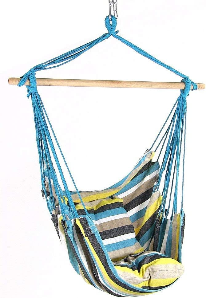 Oasis Sunnydaze Indoor-Outdoor Hanging Hammock Chair Swing with 2 Cushions