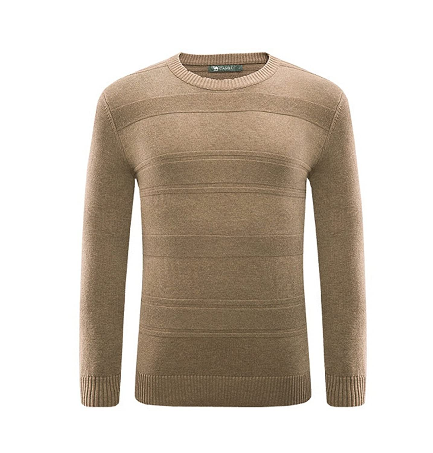 Camel Men's Casual Soft Crew-Neck Knit Sweater Jumpers Casual Pullover Sweaters