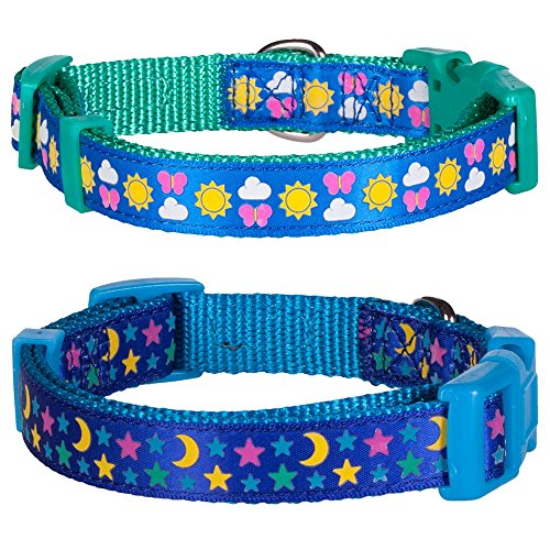 """Blueberry Pet Pack of 2 Collars for Dogs, Neck 12""""-16"""", Sunny and Starry Small Dog Collar"""