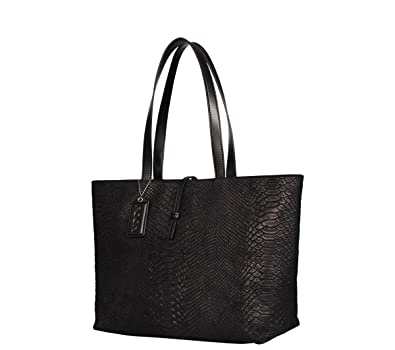 POON Handbag - Shiny Leather Black w leather LOGO   Ladies Women  Shoulderbags Tote Bag Handbags    Amazon.co.uk  Shoes   Bags 29f130c298