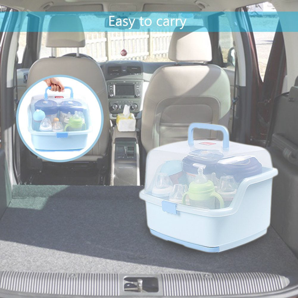 GreSky Baby Portable BPA Free Multifunctional Bottle Drying Racks with Anti-dust Cover Large Nursing Bottle Storage Box Baby Dinnerware Organizer with Drain Tray