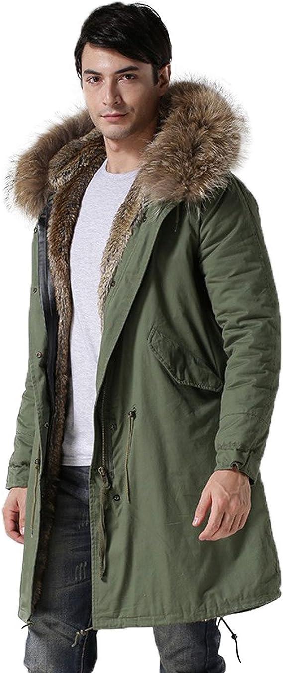 Herrenmode Parka Baumwollkleidung Jacken Faux-Pelz Kragen Kapuze Militär Mäntel