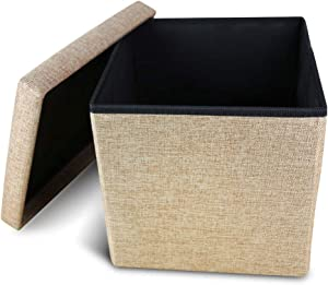 Storage Ottoman Cube Folding Ottomans with Storage Foot Rest Stool Seat Foldable Storage Ottoman Square Toy Chest Padded with Memory Foam Lid Sofa for Space Saving 11.8x11.8x11.8 inch, Coffee