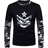 Lolittas Mens Polo T Shirts Top Long FitCamouflage Sleeve Casual, Slim Personalised Pattern Patchwork Design Suit Polo Pullover XXL