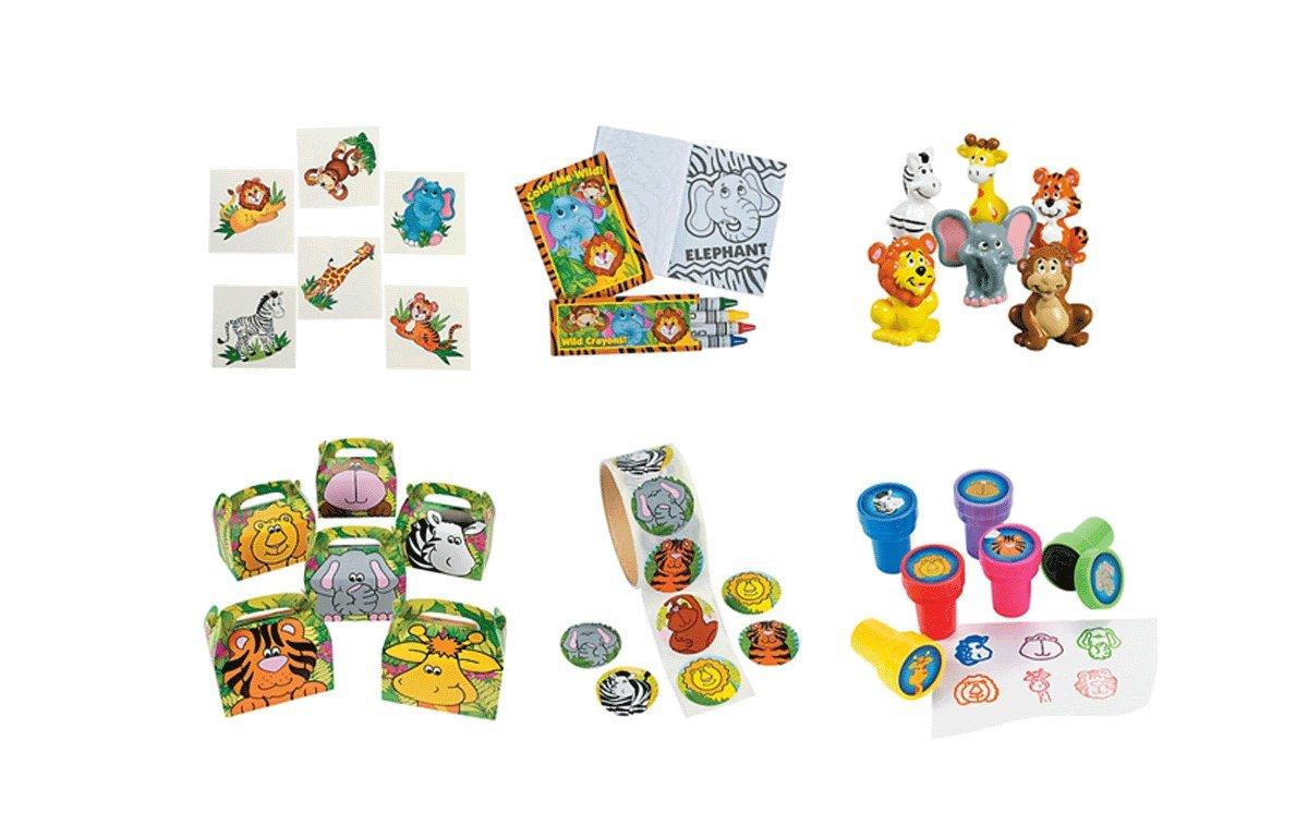 232 PC Zoo Animal Birthday Party Favor - 12 Vinyl Zoo Animal, 100 Zoo Animal Stickers, 12 Zoo Animal Coloring Sets, 24 Zoo Animal Stampers, 12 Zoo Animal Treat Boxes & 72 Zoo Animal Tattoos